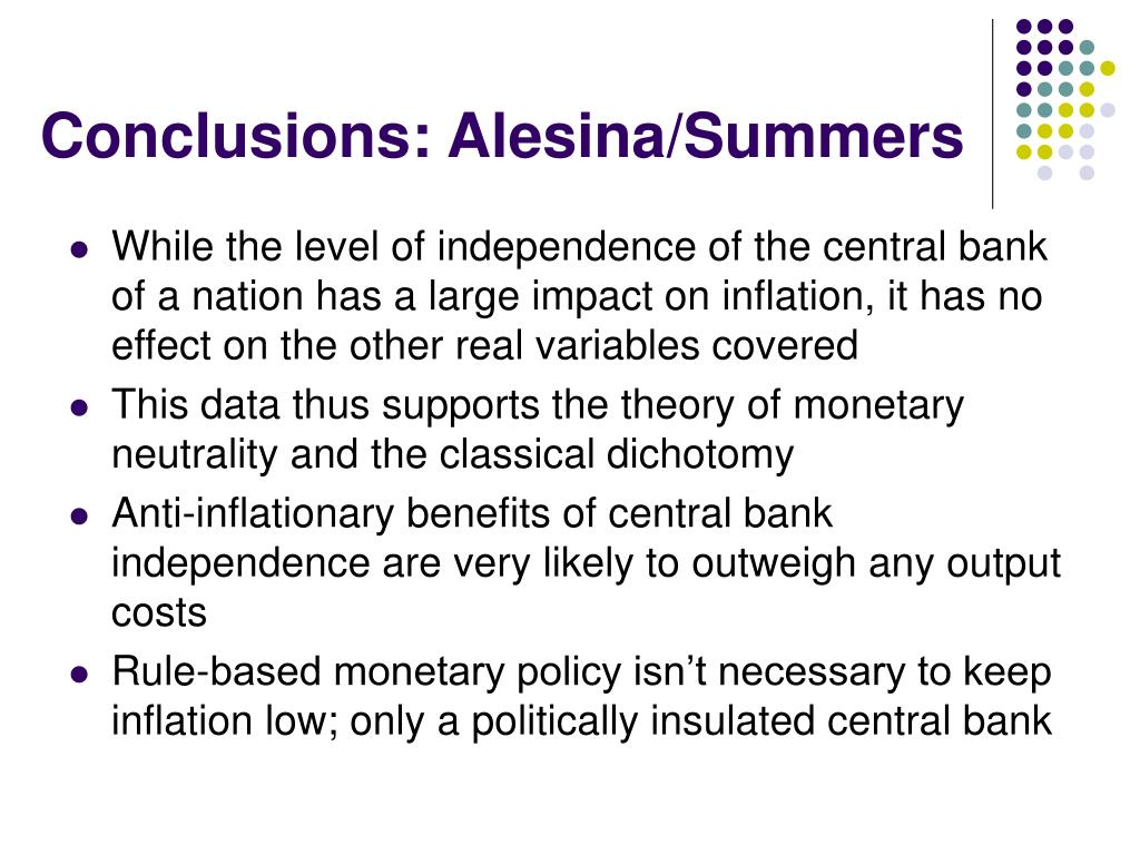 Conclusions: Alesina/Summers