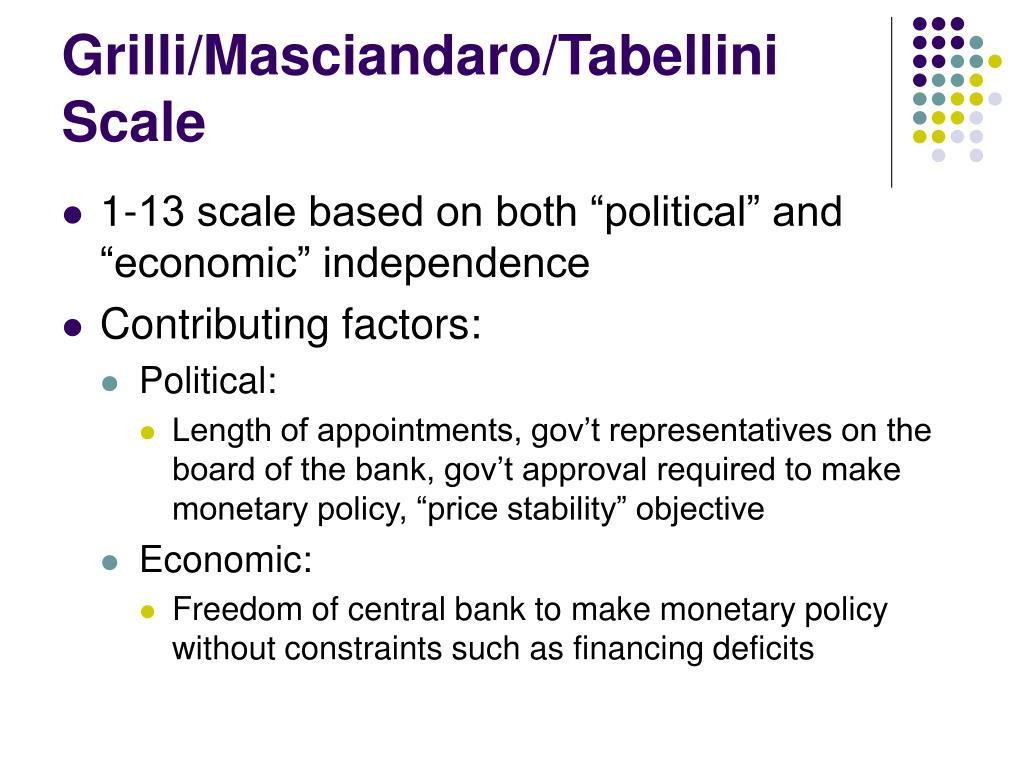 Grilli/Masciandaro/Tabellini Scale