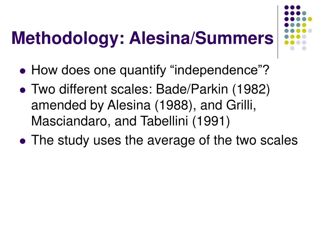 Methodology: Alesina/Summers