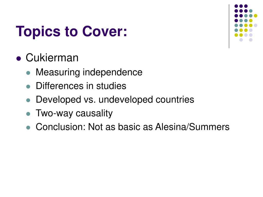Topics to Cover: