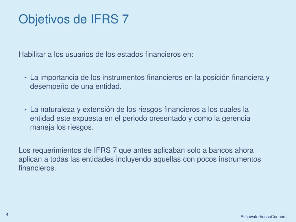 Objetivos de IFRS 7
