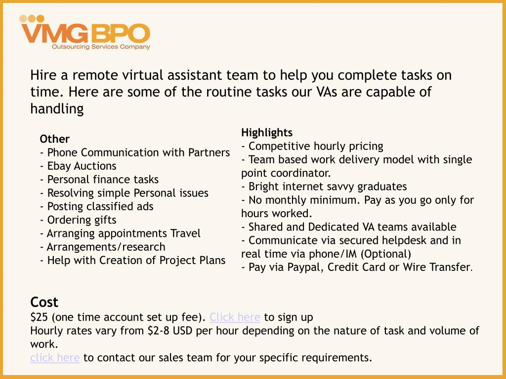 Hire a remote virtual assistant team to help you complete tasks on time. Here are some of the routine tasks our VAs are capable of handling