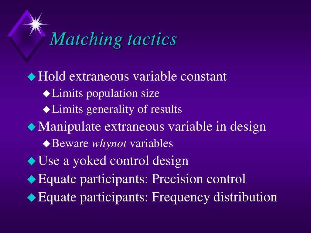 Matching tactics