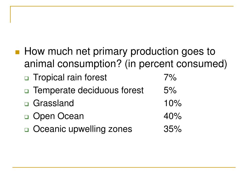 How much net primary production goes to animal consumption? (in percent consumed)