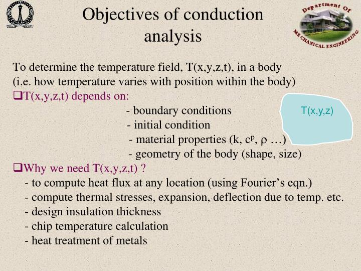 Objectives of conduction analysis
