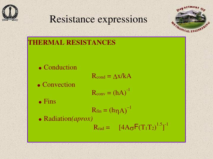 Resistance expressions