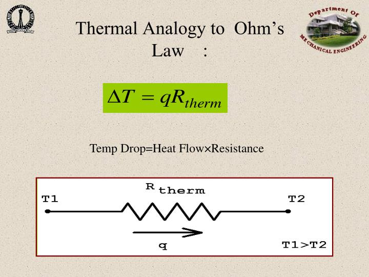 Thermal Analogy to  Ohm's  Law    :