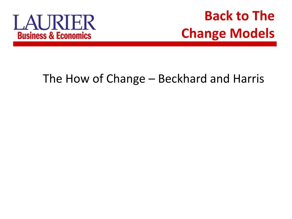 Back to The Change Models