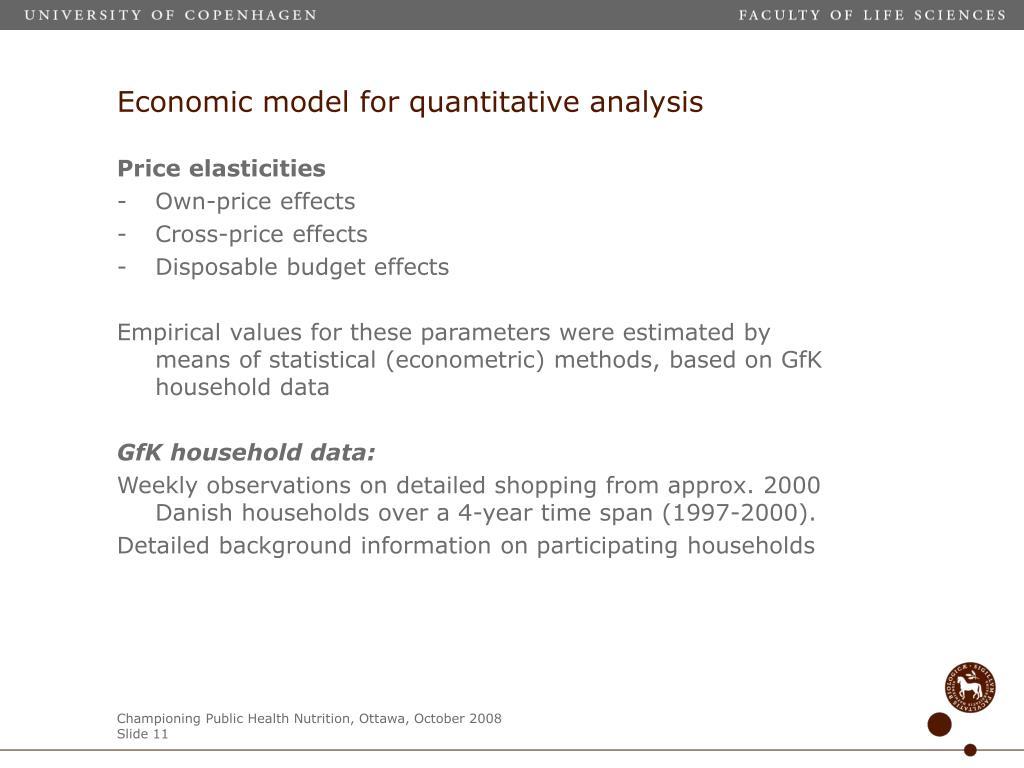 Economic model for quantitative analysis