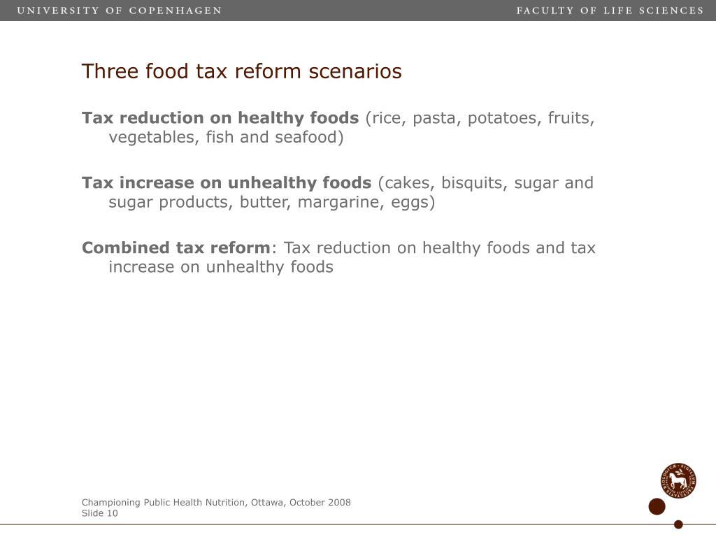 Three food tax reform scenarios