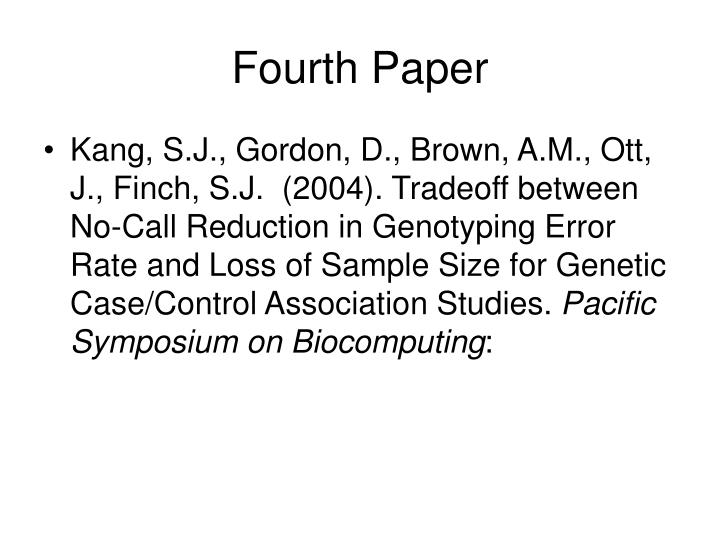 Fourth Paper