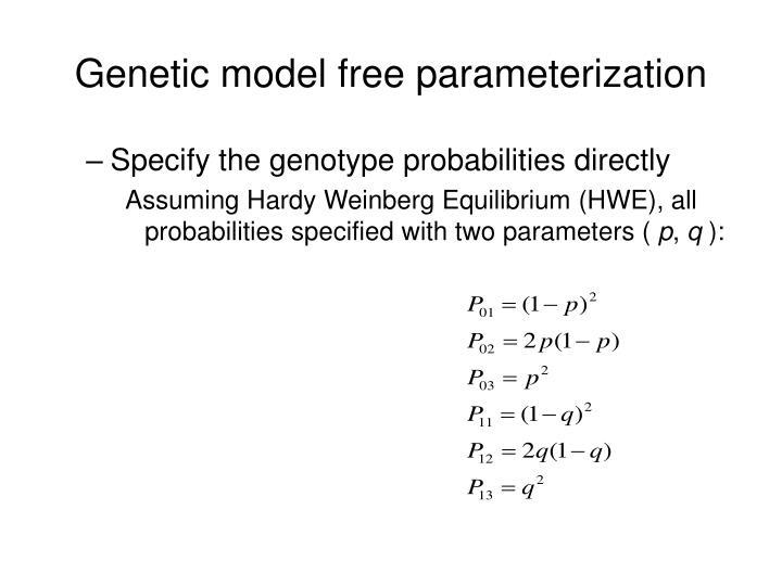 Genetic model free parameterization