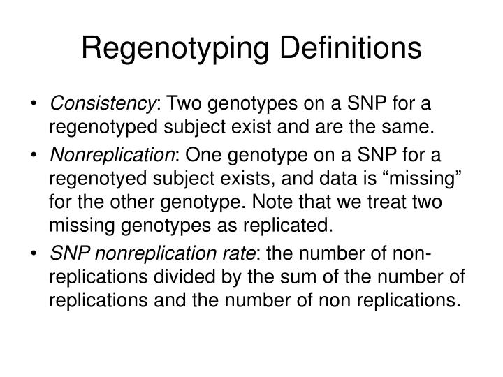 Regenotyping Definitions