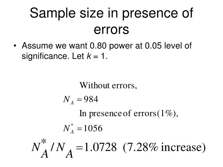 Sample size in presence of errors