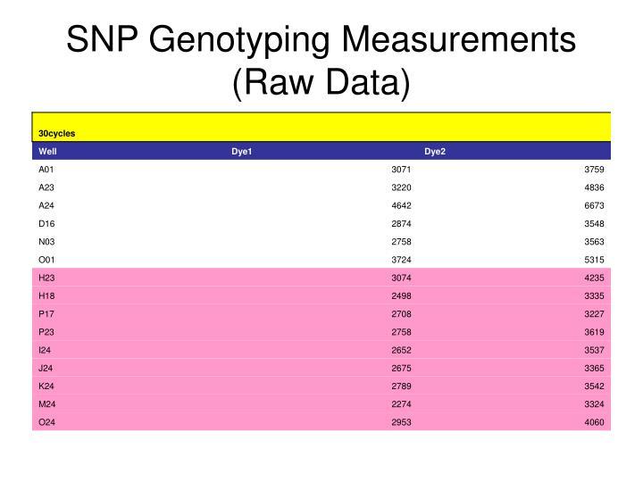 SNP Genotyping Measurements (Raw Data)