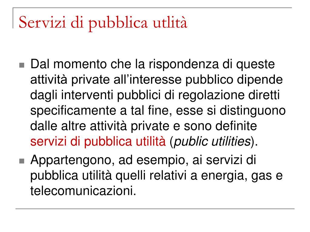 Servizi di pubblica utlità