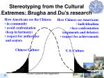 stereotyping from the cultural extremes brugha and du s research