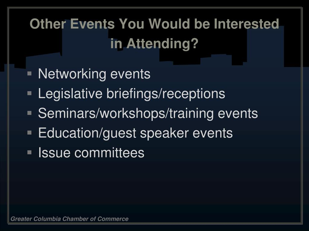 Other Events You Would be Interested in Attending?
