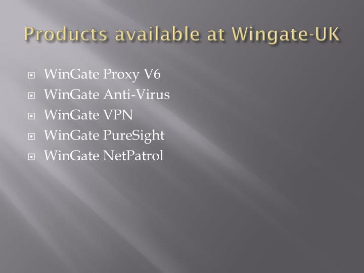 Products available at wingate uk