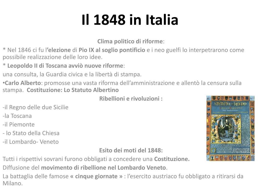 Il 1848 in Italia