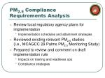 pm 2 5 compliance requirements analysis