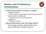 status and preliminary conclusions