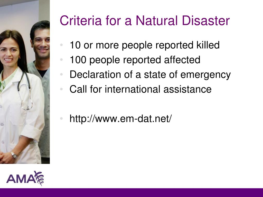 Criteria for a Natural Disaster