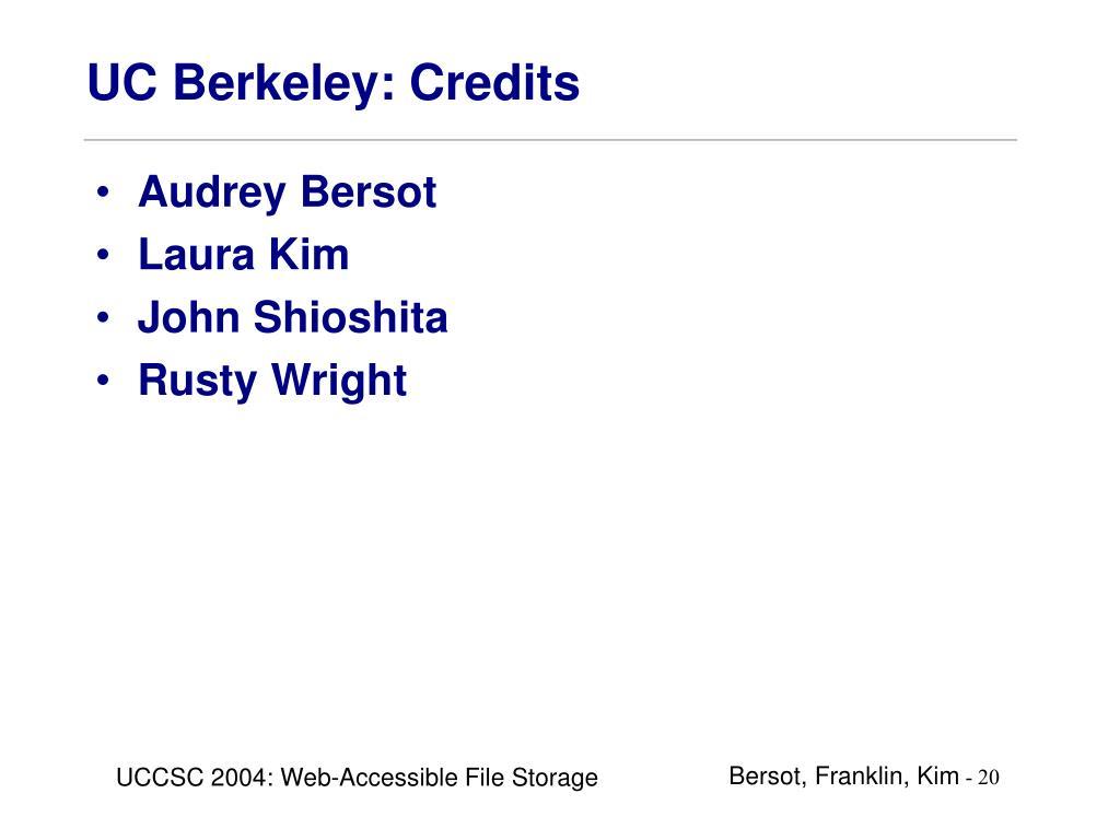 UC Berkeley: Credits