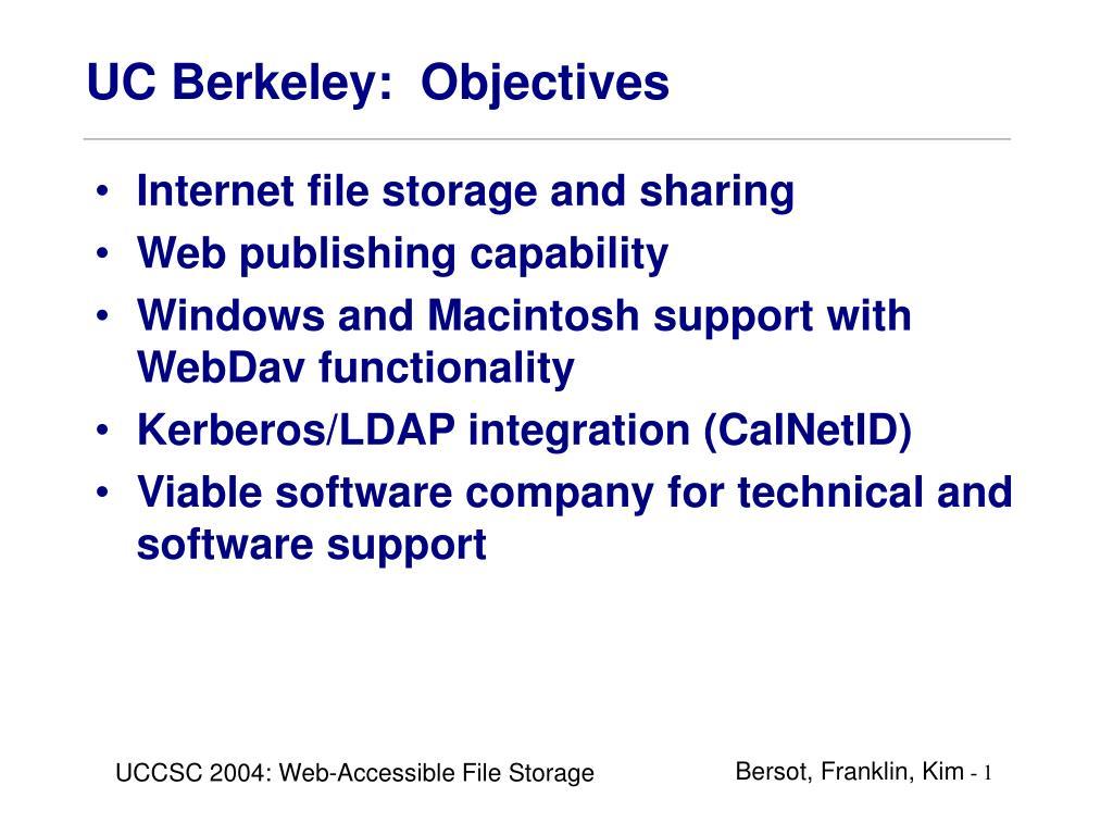 UC Berkeley:  Objectives