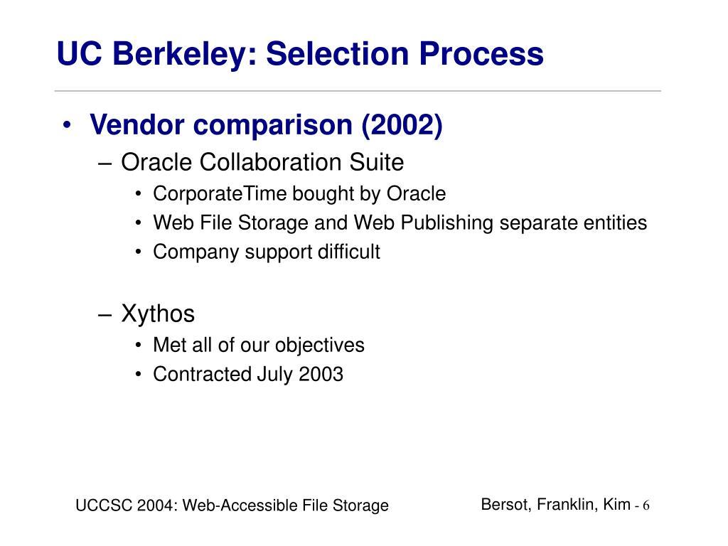 UC Berkeley: Selection Process