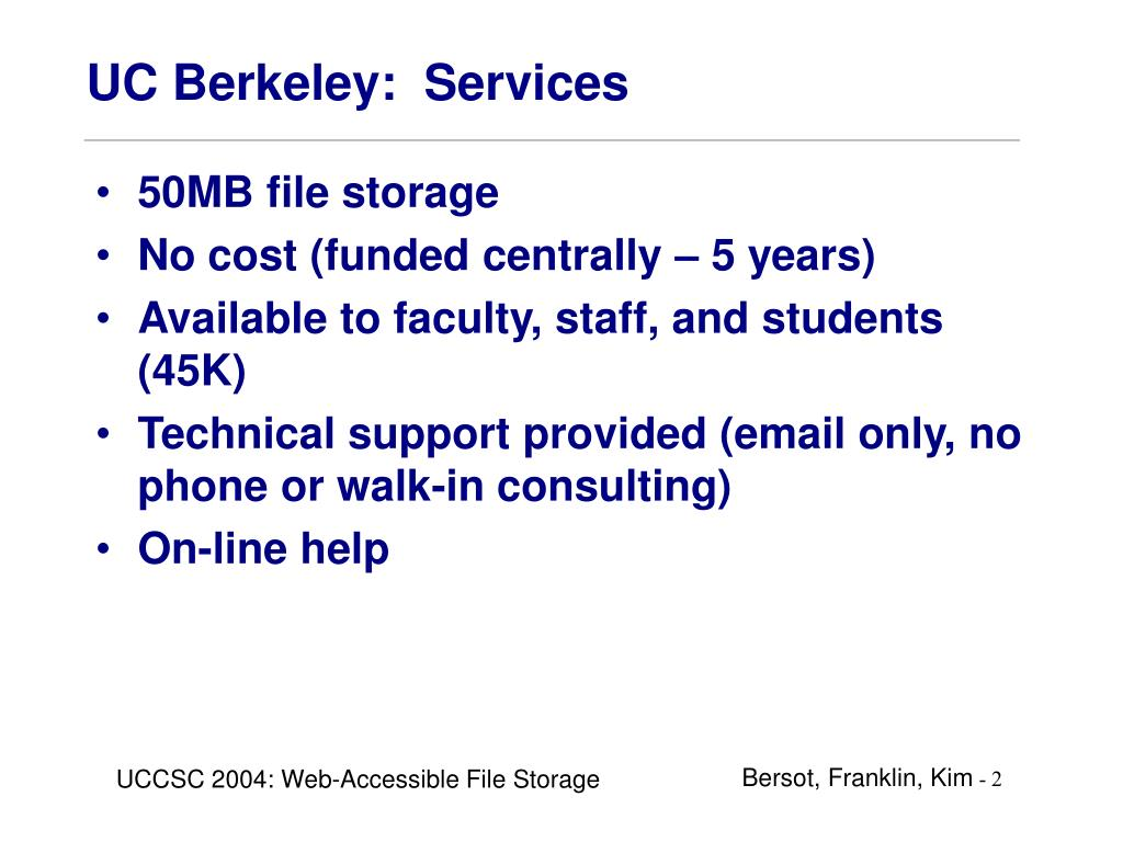 UC Berkeley:  Services