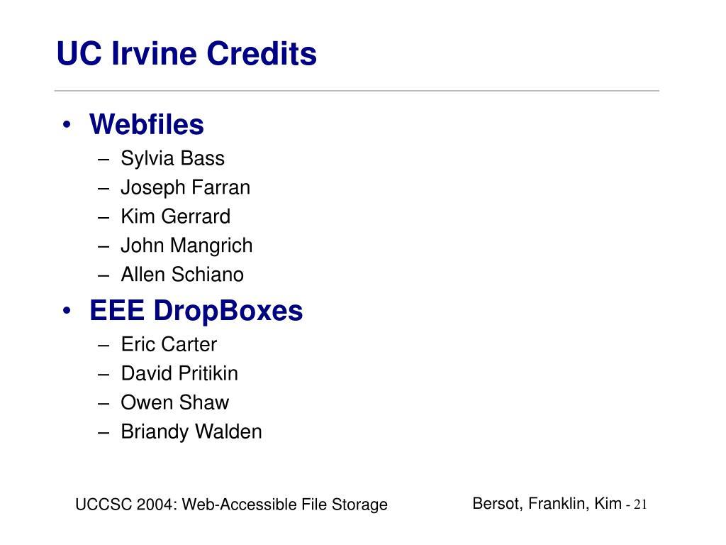UC Irvine Credits