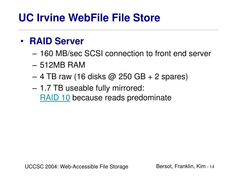 UC Irvine WebFile File Store