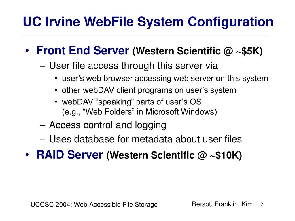 UC Irvine WebFile System Configuration