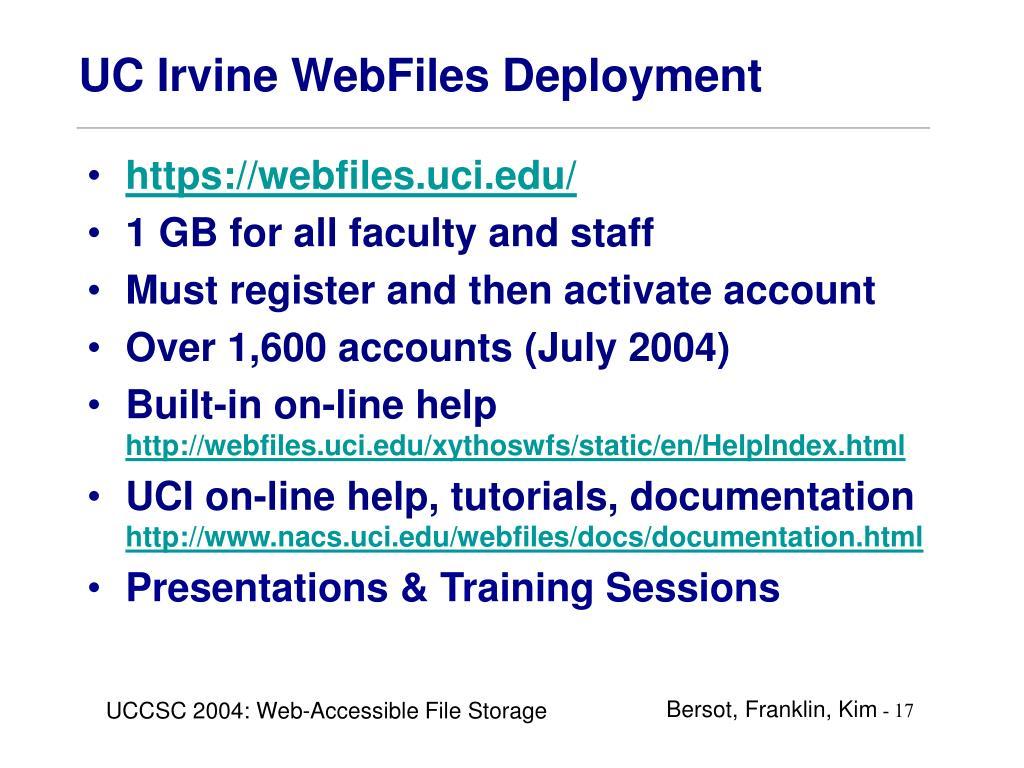 UC Irvine WebFiles Deployment