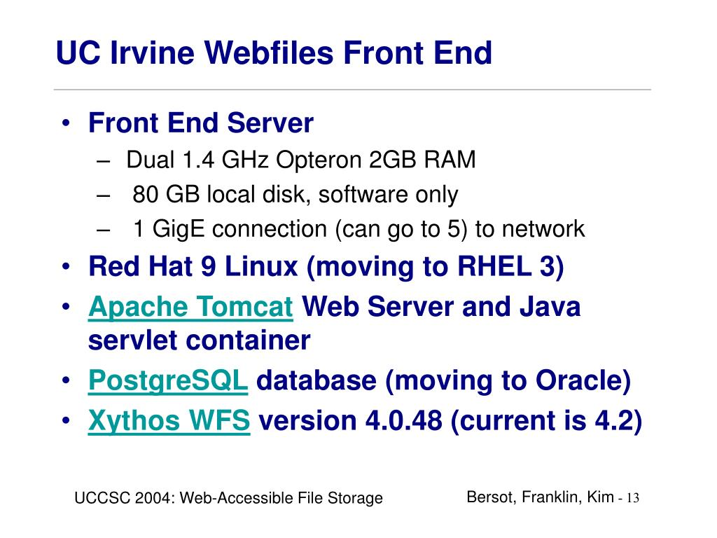 UC Irvine Webfiles Front End