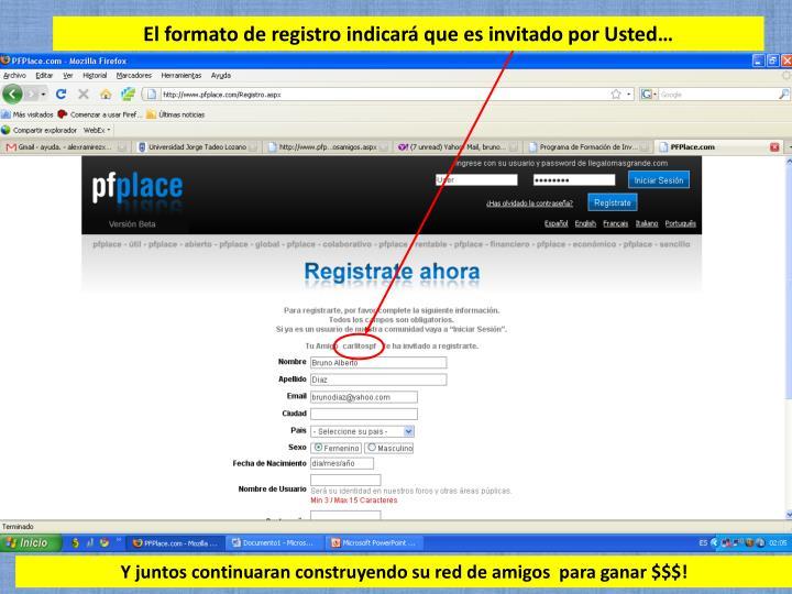 El formato de registro indicará que es invitado por Usted…