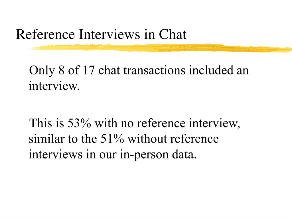 Reference Interviews in Chat
