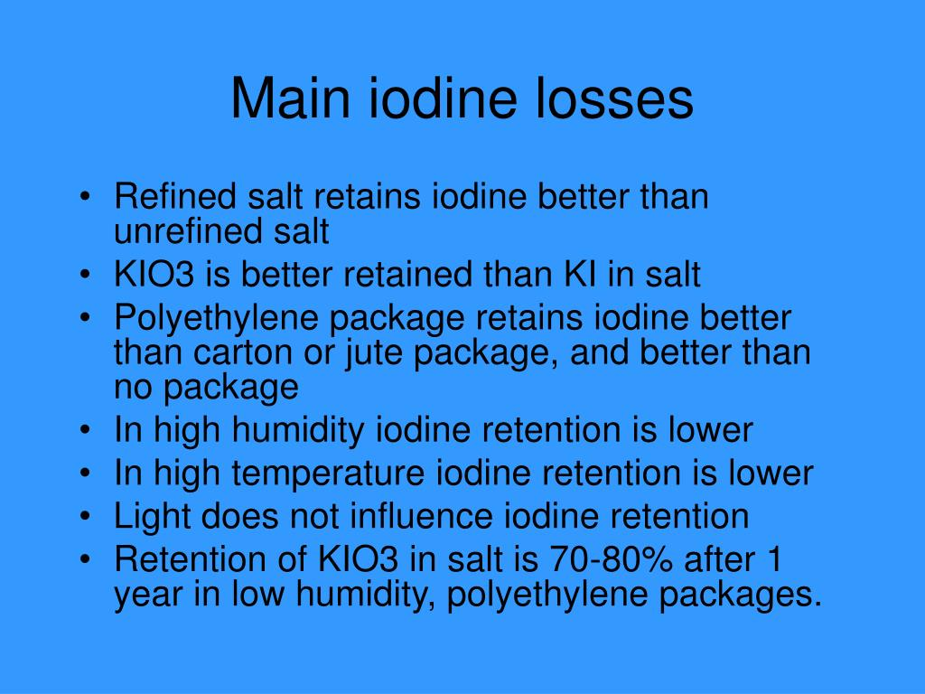 Main iodine losses