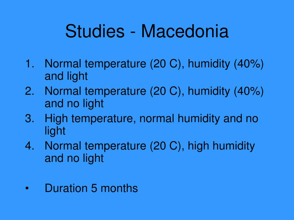 Studies - Macedonia