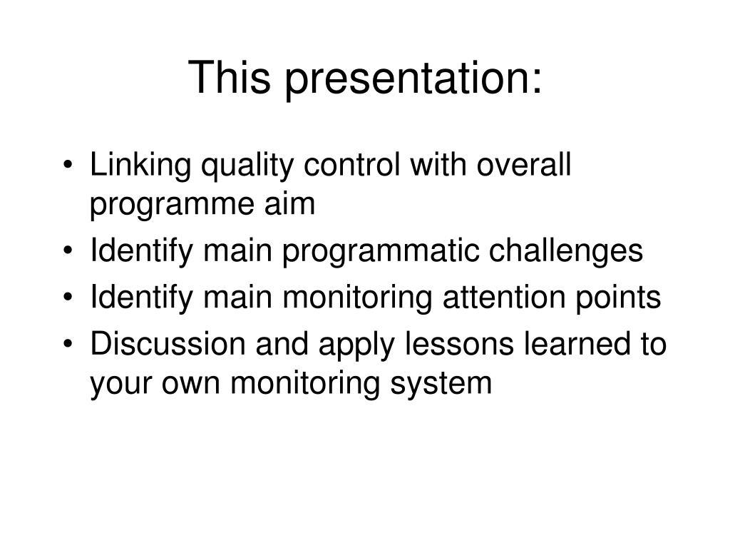 This presentation: