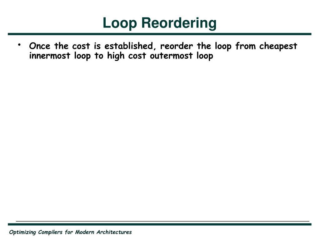 Loop Reordering