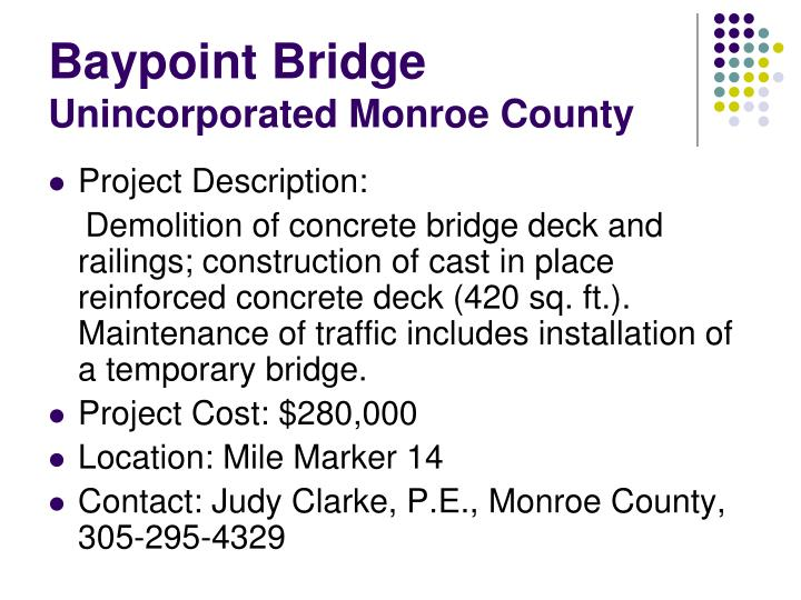 Baypoint bridge unincorporated monroe county