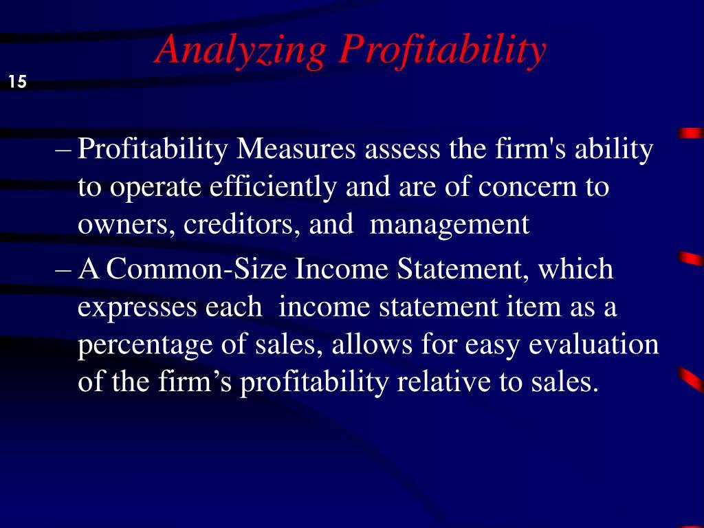 Analyzing Profitability