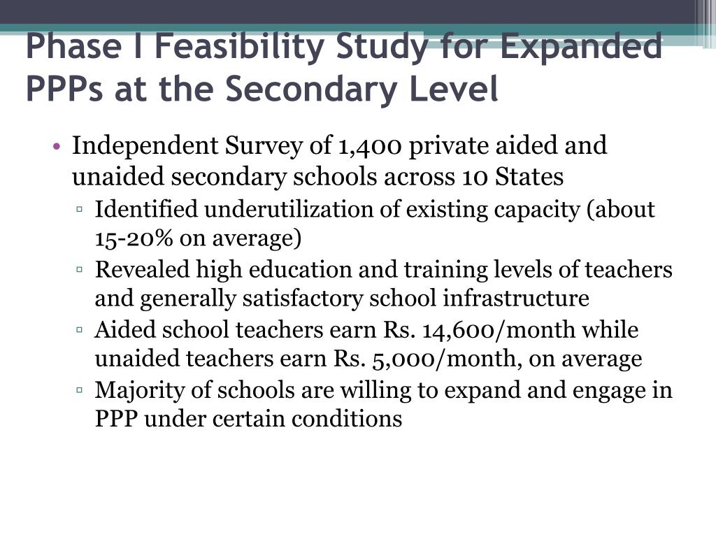 Phase I Feasibility Study for Expanded PPPs at the Secondary Level