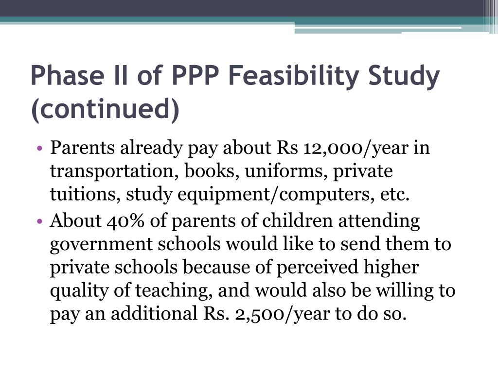 Phase II of PPP Feasibility Study (continued)