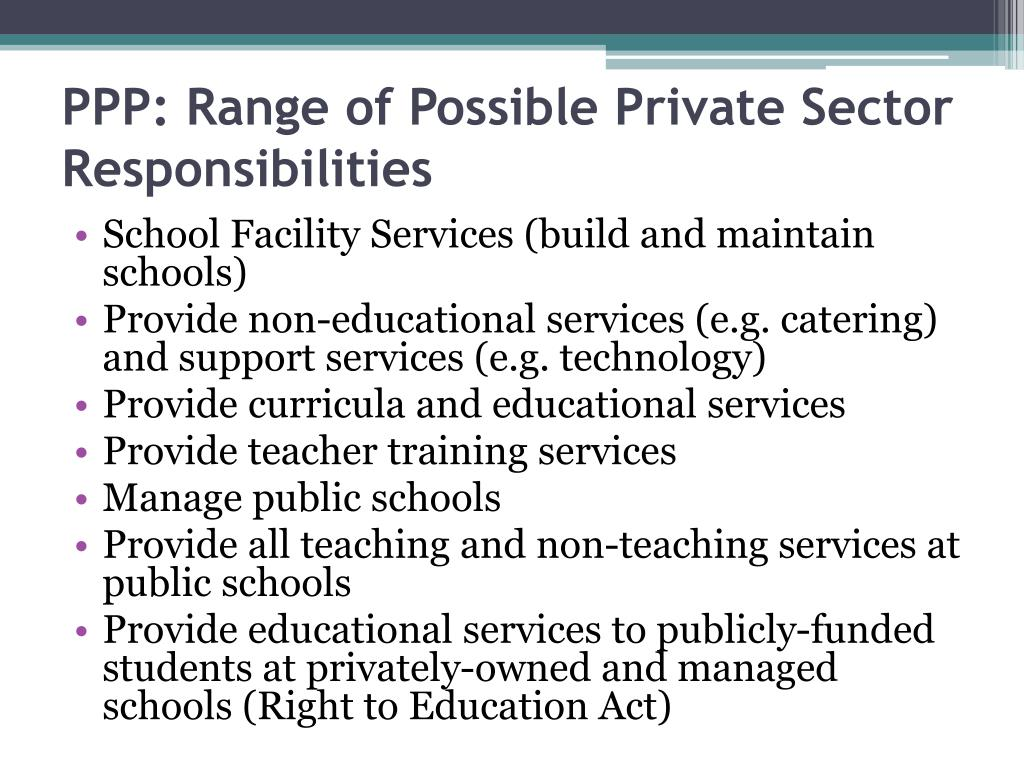 PPP: Range of Possible Private Sector Responsibilities