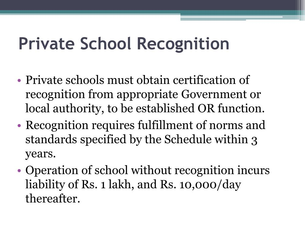 Private School Recognition