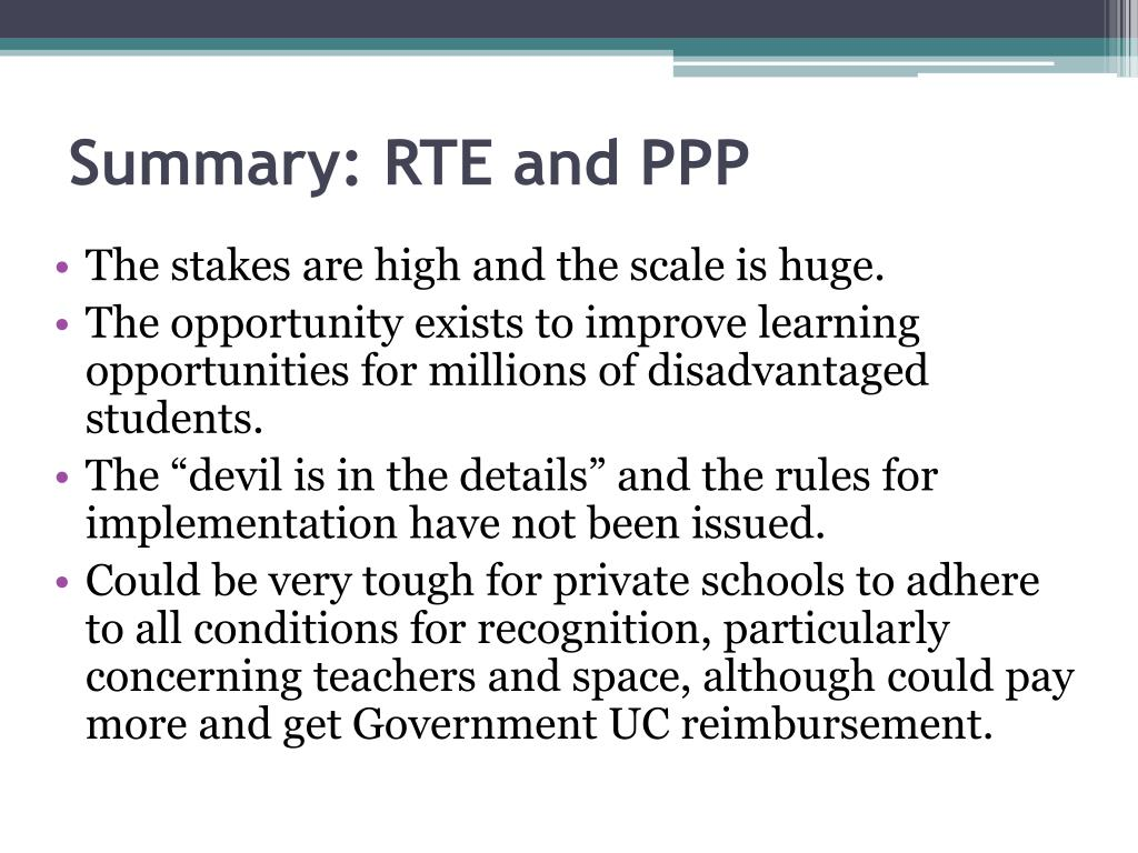 Summary: RTE and PPP