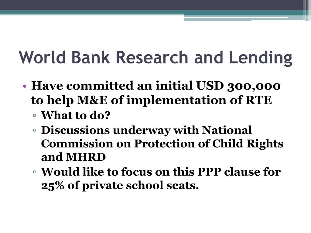 World Bank Research and Lending